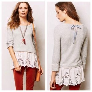 Anthropologie Postmark Lace Skirt Sweat Shirt S